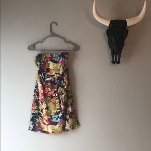 Watercolor floral strapless dress